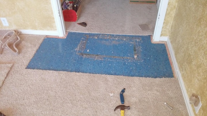 Before Carpet Repair in Stone Oak, TX